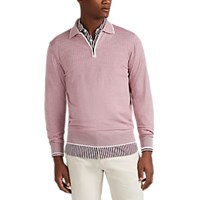 Luciano Barbera Zip Front Wool Long Sleeve Polo Shirt Light Pastel Pink