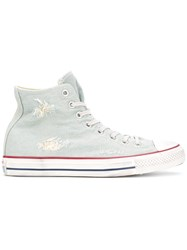 Converse Distressed Denim Sneakers Blue