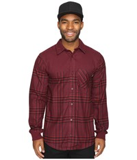 Adidas Boss K Flannel Top Maroon Black Scarlet Men's Long Sleeve Button Up Brown