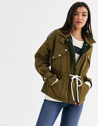 Maison Scotch Military Jacket With Drawcords Green