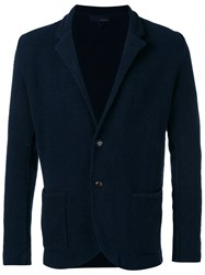 Lardini Textured Shawl Collar Jacket Men Cotton Nylon S Blue