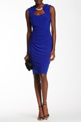 Marina Sleeveless Rhinestone Detail Sheath Dress Blue
