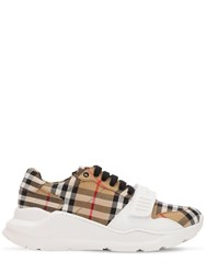 Burberry 30Mm Regis Check Cotton Canvas Sneakers Beige