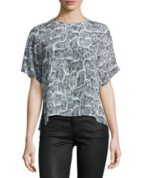Opening Ceremony Kom Short Sleeve Dog Print Silk Top Black Pattern