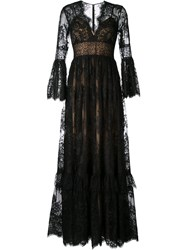 Zuhair Murad Lace Flared Gown Black