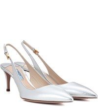 Prada Leather Slingback Pumps Silver