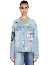 Sjyp Oversize Hand Painted Denim Jacket Light Blue