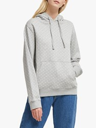 French Connection Dotted Jersey Hoodie Grey