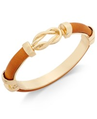 Charter Club Gold Tone Camel Faux Leather Knot Hinged Bangle Bracelet Only At Macy's
