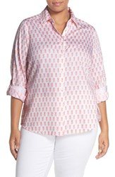 Foxcroft Plus Size Women's Foxcoft Roll Sleeve Pineapple Print Shirt