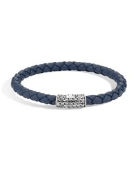 John Hardy Classic Chain Silver Round Woven Bracelet On Blue Leather Cord