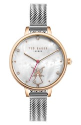 Ted Baker London Kate Mesh Strap Watch 32Mm Silver Mop Rose Gold