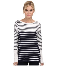 Tart Olivia Sweater Navy W Oatmeal Stripe Women's Sweater Black