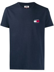 Tommy Jeans Logo Embroidered T Shirt Blue