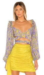 For Love And Lemons Maui Wrap Top In Yellow Purple.