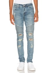 Stampd Distressed Moto Denim In Blue