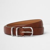 River Island Brown Silver Tone Double Keeper Belt