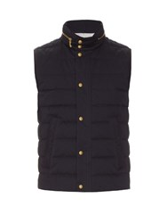 Moncler Gamme Bleu Quilted Cotton Gabardine Gilet Navy Multi