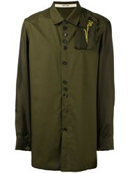 Damir Doma Embroidered Patch Shirt Green