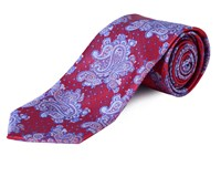Double Two Extra Long Paisley Tie Red