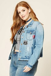 Forever 21 Plus Size Patch Denim Jacket Denim Washed