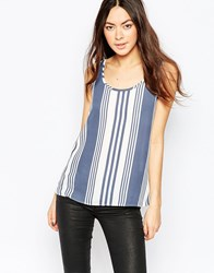Jdy Striped Vest Top Blue White