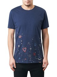 Pretty Green Hilldrop Slim Fit Graphic T Shirt Blue