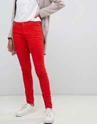 Esprit Skinny Cord Trousers In Red Orange