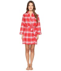 Kate Spade Flannel Robe Winterly Plaid Red