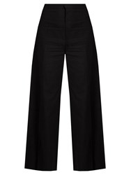 Isabel Marant Spanel Wide Leg Cotton Blend Cropped Trousers Black