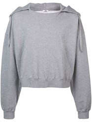 Cmmn Swdn Cropped Hoodie Grey