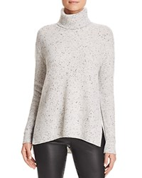 Bloomingdale's C By Waffle Knit Turtleneck Cashmere Sweater Light Grey Donegal