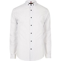 River Island Mens White Polka Dot Slim Fit Smart Shirt