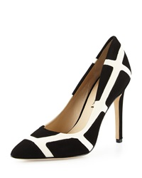 Via Spiga Fate Suede Colorblock Pump Black Ivory