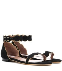 Tabitha Simmons Pearl Suede Sandals Black