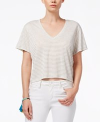 Rachel Rachel Roy V Neck Short Sleeve Top White Heather Grey