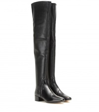 Francesco Russo Leather Over The Knee Boots Black