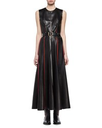 Alexander Mcqueen Sleeveless Laced Leather Midi Dress Black Pattern