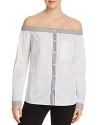 Bailey 44 Shibui Striped Off The Shoulder Shirt Black White
