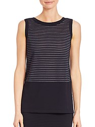 Lafayette 148 New York Striped Sleeveless Top Ink