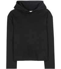Balenciaga Cropped Cotton Hoodie Black