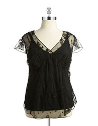 Jessica Simpson Plus Plus Karen Beaded Sheer Blouse Black