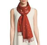 Eileen Fisher Jamdani Hand Loomed Organic Scarf Orange Pekoe