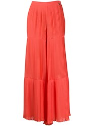 Twin Set Pleated Wide Leg Trousers Orange