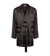 Zimmerli Classic Piping Silk Robe Male Black