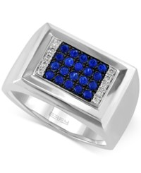 Effy Collection Gento By Effy Men's Sapphire 1 2 Ct. T.W. And Diamond Accent Ring In 14K White Gold
