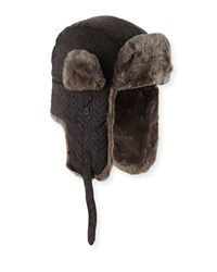 Neiman Marcus Cashmere Quilted Faux Fur Trapper Hat Charcoal