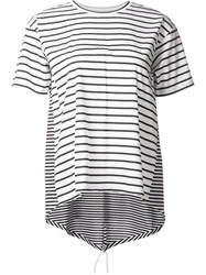 Astraet Multi Patterned Striped Crew Neck T Shirt White
