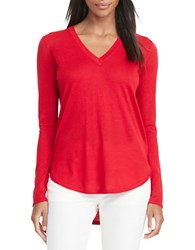 Lauren Ralph Lauren Petite Silk Blend V Neck Sweater Brilliant Red