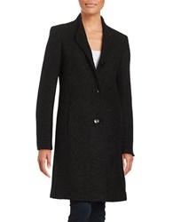 Ellen Tracy Button Down Wool Blend Coat Black